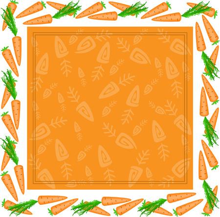 vegetal: orange square frame made of carrots with white edges