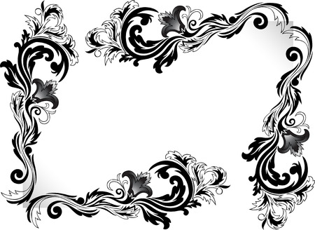 a set of black corner ornaments on a white background Vector