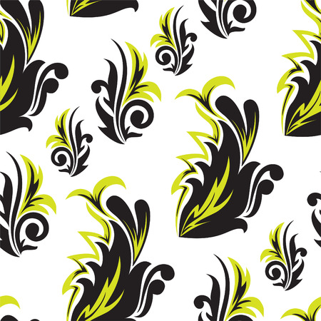 abstract black-and-green floral seamless pattern Stock Vector - 8977798