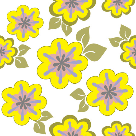 chaotically: seamless pattern of yellow flowers chaotically placed on a white background