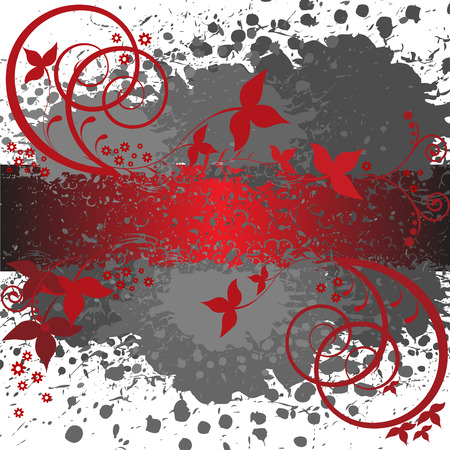 abstract spattered gray background with red floral elements Stock Vector - 8977814