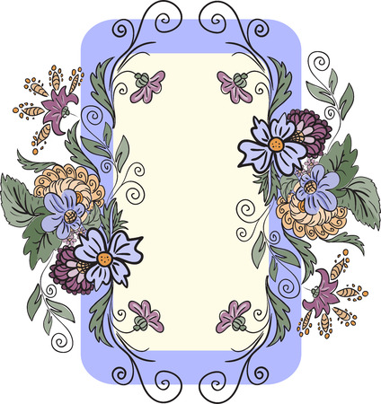 vertical frame is made of hand-drawn flowers Stock Vector - 8977804