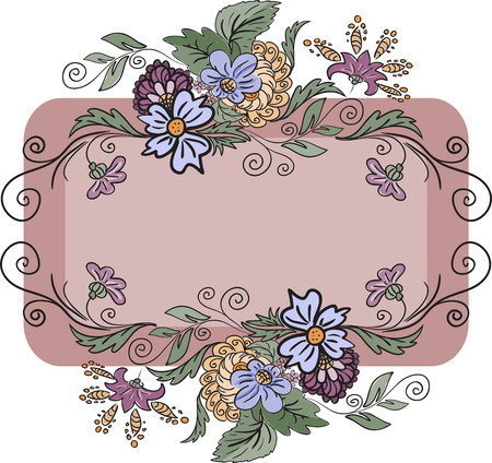 horizontal frame is made of hand-drawn flowers Vector