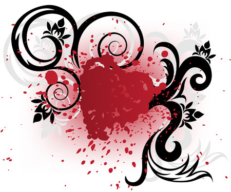stylized heart of red spray and black curls on a white background Vector