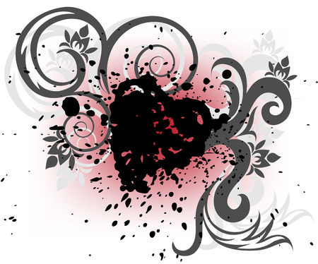 stylized heart of the black splashes and curls on a white and red background Stock Vector - 8977816