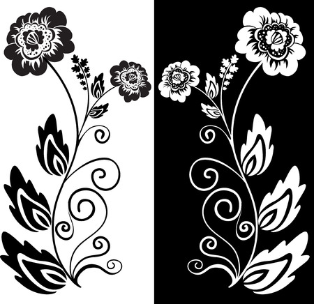 set of two black and white hand-drawn flowers Vector