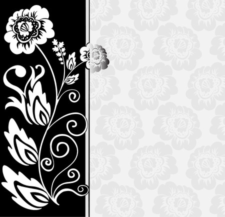 abstract black and white background with flowers and floral elements Vector