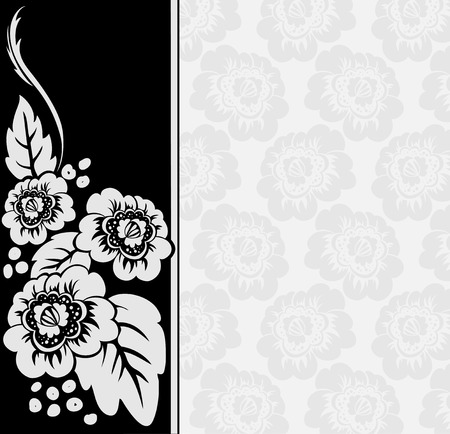 gray flowers on an asymmetric black and white background with a broad vertical stripe Vector