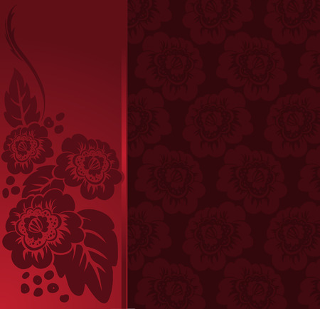 asymmetrical: asymmetrical red background with the flowers of a broad vertical strip