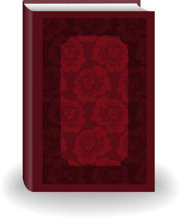 Beautiful red big book in cover with flowers Vector