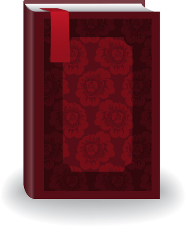 big red book in cover with flowers and a bookmark Vector