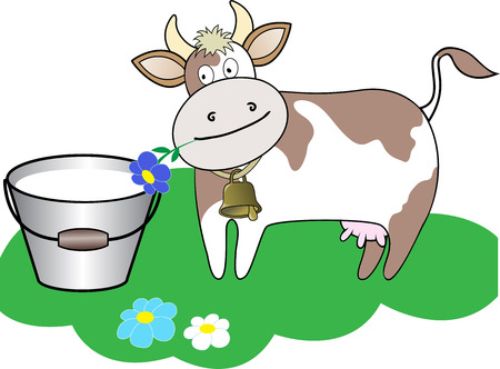 cow bells: cow chewing a flower beside a bucket of milk on a green lawn