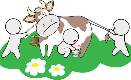 three cartoon man shared a cow on a green lawn Stock Vector - 8977785