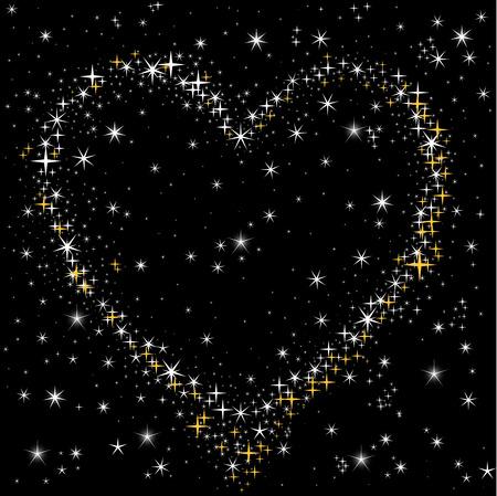estrellas: coraz�n de las estrellas de oro y blancas en el cielo nocturno Vectores