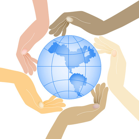 protecting: human hands in different colors hold the planet