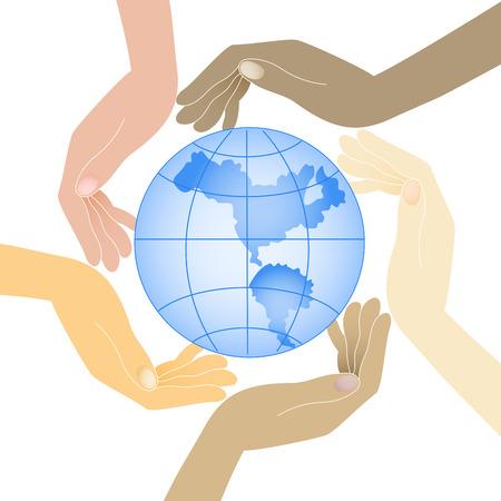 el mundo en tus manos: manos humanas en diferentes colores mantienen el planeta