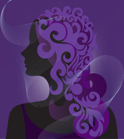 veiled: silhouette of a woman veiled in purple background