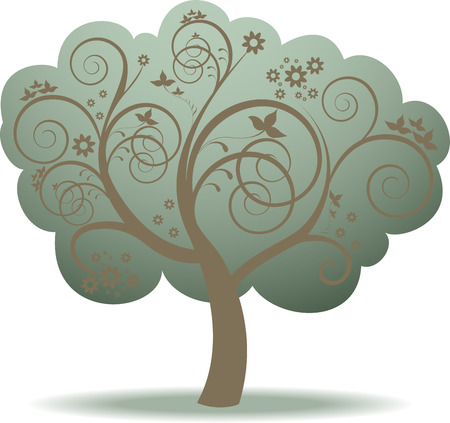 fantasy green tree and flowers in whorls Vector