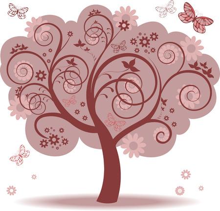 spring out: �rbol de fantas�a con hojas rojas y mariposas