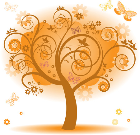 fantasy tree with orange leaves and butterflies Stock Vector - 8977805