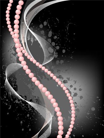 perlas: Rosas perlas con una neblina sobre un fondo negro te�ido