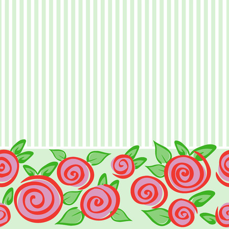 horizontal: Green seamless horizontal pattern with roses and stripes