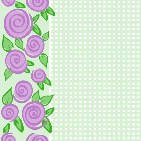 Green seamless vertical pattern with roses and cells Vector