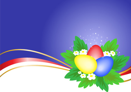 three multi-colored Easter eggs on a blue background with wavy ribbons Vector