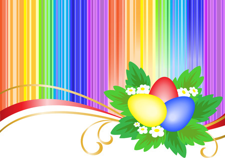 three colored: three multi-colored Easter eggs in bright rainbow background Illustration