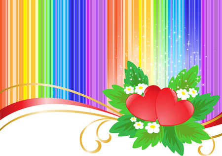 motley: two hearts on the striped rainbow background with sparkles