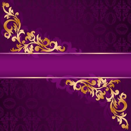 morado: banner p�rpura con una ornamentada adornos de oro Vectores