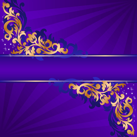 baroque border: blue banner with a gold ornate ornaments Illustration