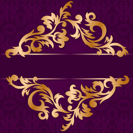 brocade: gold rhomb out of floral ornament on a purple background Illustration