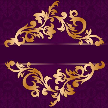 purple silk: oro polarizaci�n de adorno floral sobre un fondo p�rpura