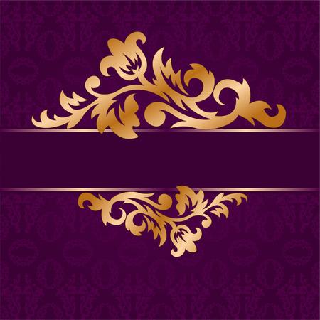 purple silk: La rama dorada de adorno floral sobre un fondo p�rpura