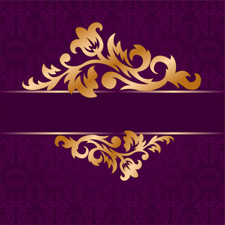bough: The golden bough of floral ornament on a purple background