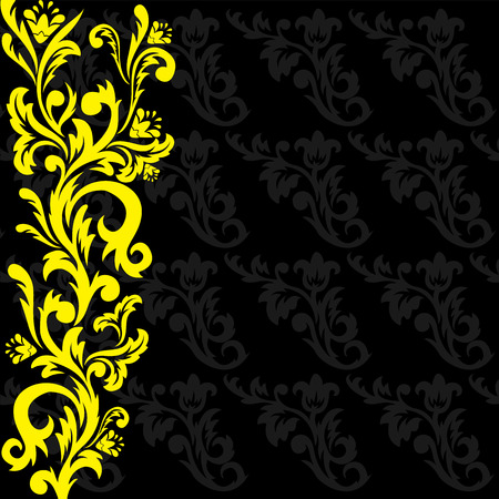 tracery: yellow floral tracery on a black patterned background