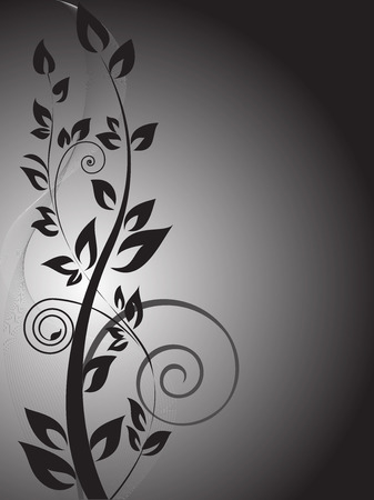 black branch with curls on the vertical gradient background Stock Vector - 9045688