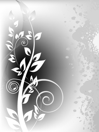 vertical garden: white branch with curls on stained gray background Illustration