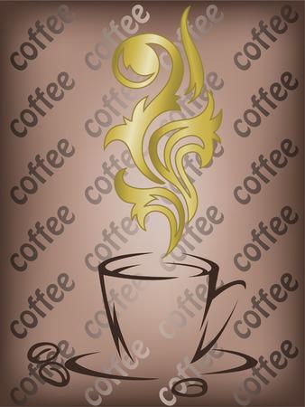 demitasse: Tazza di caff� stilizzata con i riccioli d'oro del vapore Vettoriali