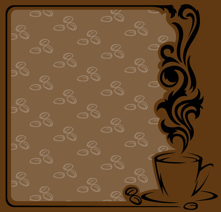 square frame with a stylized  a cup of coffee and coffee beans Stock Vector - 9045690