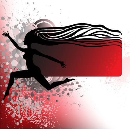 expansive: black silhouette of a running girl with wavy hair