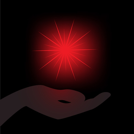glowing red star in the palm  on a black background Stock Vector - 9045721