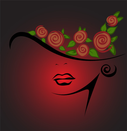 feminine silhouette in a hat with red roses on a black background Illustration