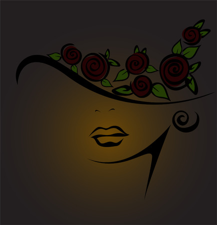 sensuality: feminine silhouette in a hat with black roses on a dark background Illustration