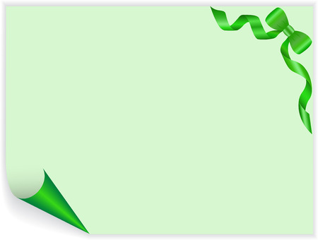 green page with a twisted angle and a satin bow Stock Vector - 9045718