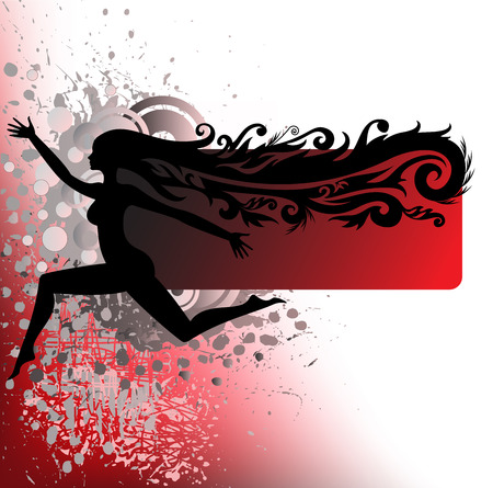 expansive: black silhouette of a girl traveling on a red background stained