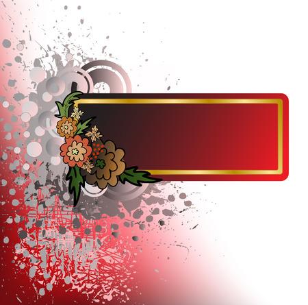 spattered: Fondo abstracto salpicadas con flores de color marr�n y dorado marco