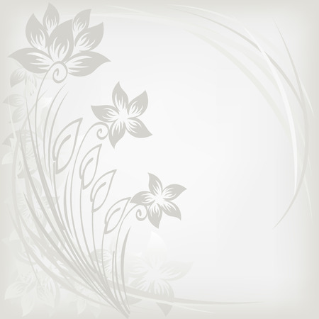 asymmetric gray background with three flowers Stock Vector - 9113243
