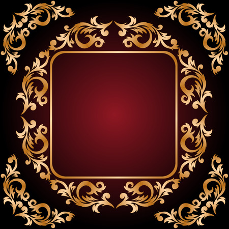 vintage frame from the golden ornament on dark red background Vector